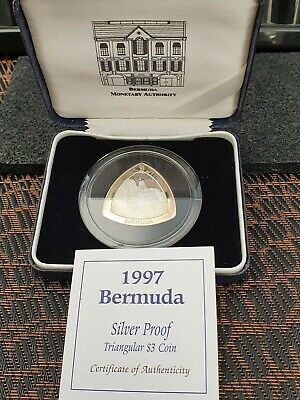 Bermuda 1997 Silver Proof $3 Dollar Triangle Coin COA Cased by Royal Mint