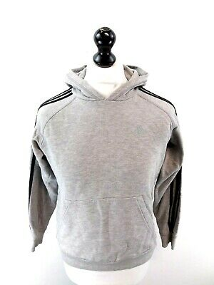 ADIDAS Boys Hoodie Jumper 13-14 Years Grey Cotton & Polyester