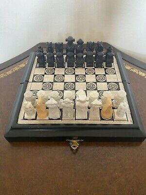 Unique Vintage Chinese Style Hand Carved Hand Crafted Stone Chess Set With Board
