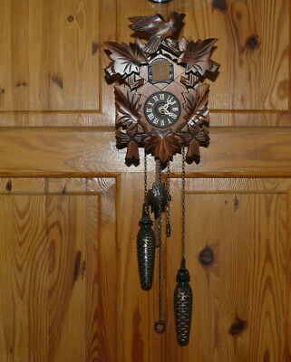 German Wooden cased Cuckoo Wall Clock Quartz Battery. by Engstler.