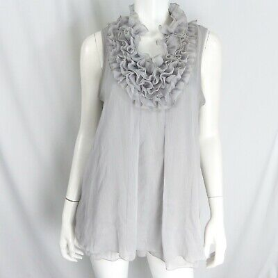 M by Marc Bouwer Sheer Ruffle Detail sleeveless Tunic Gray Size M