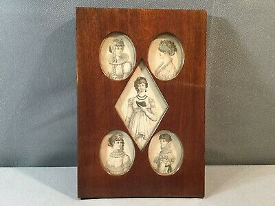 Antique early 19th Century Multi photo Picture frame wood frame Mahogany Pierced