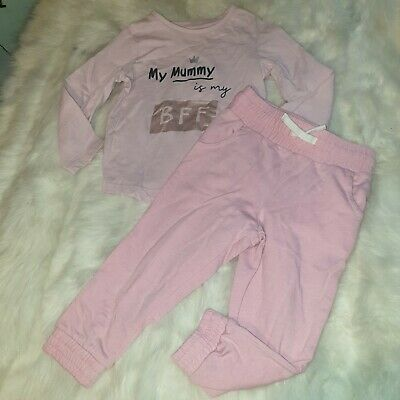 Girls 2-3 years Bundle my mummy BFF Top track trousers joggers outfit Next Day
