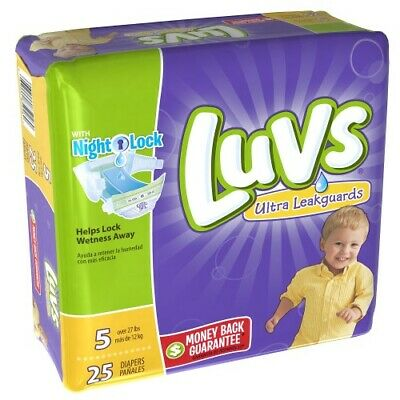 Luvs Ultra Leakguards Diapers Size 5, Qty 25, UPC 037000859260