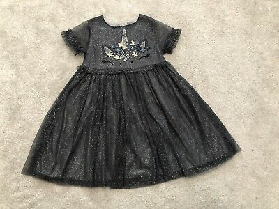 Beautiful Next Girls Party Dress Black Sparkly Unicorn Age 5-6 Years