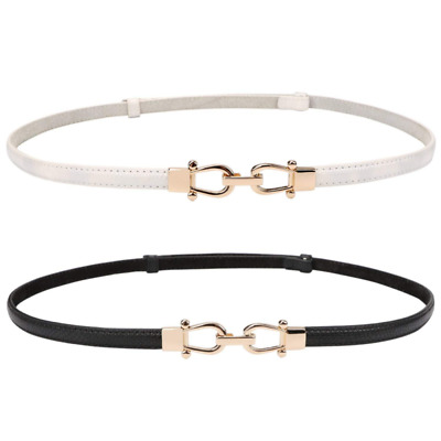 2 Pack Womens Genuine Leather Thin Belts For Jeans Fashion Interlocking Buckle