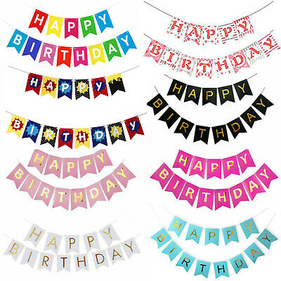 Happy Birthday Bunting Banner - Pastel Hanging Letters Party Decoration Garland