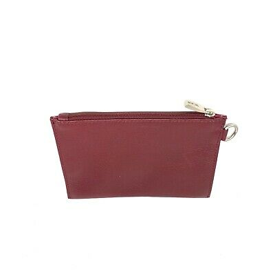TUMI Burgundy Leather Travel Pouch Smalli Zip up Zipper