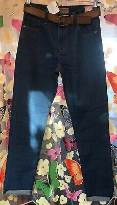 Next SP Boys Blue Slim Fit Turn Ups Denim Jeans With Belt Age 13 Years BNWT