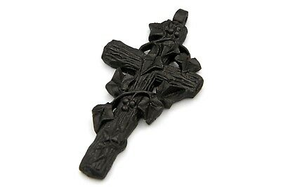 Antique 1800s Large Floral Cross Pendant, Black Vulcanite Ivy Leaves Crucifix
