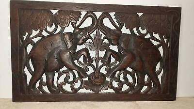 hand carved wooden elephants wall hang