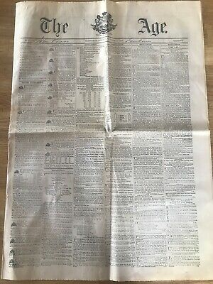 The Age Newspaper. MELBOURNE. First edition copy 1854