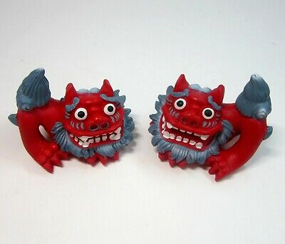 Pair of Red Chinese Foo Dog Lion Temple Guardian Figurines
