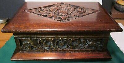Vintage Hand Carved Wooden Footed Jewelry/Trinket Box Flower Design Art Carved.