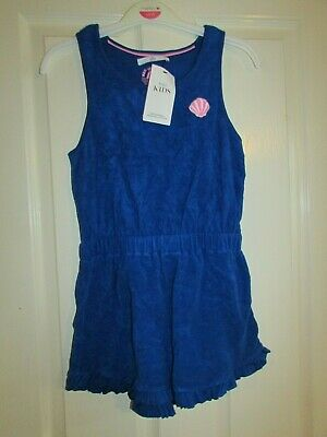 girls blue towelling playsuit with shell applique from M&S age 11-12yrs,BNWT