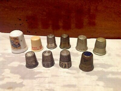Lot Of Ten Vintage/Antique Thimbles-Engraved-Advertising-Sterling
