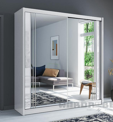 NEW LONDON Modern Sliding Door Wardrobe 2 Door Bedroom Full Mirror WHITE 5 Sizes