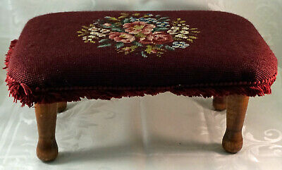Neat Antique hand Made 4 Footed Footstool with Flowered Needlepoint Cover