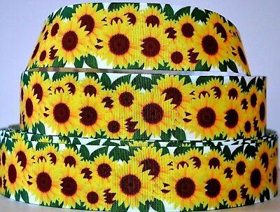 "Grosgrain Ribbon 3/8""7/8"" 1.5"" 3"" Floral Sunflowers Flowers Mother's Day Printed"