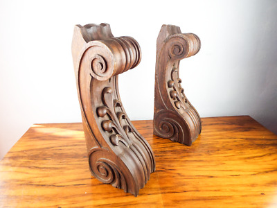 Antique Large Wooden Corbels Shelf Architectural Salvage Victorian Acanthus