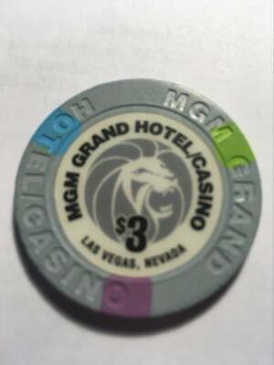 $3 MGM Casino Chip Las Vegas MGM Poker Room