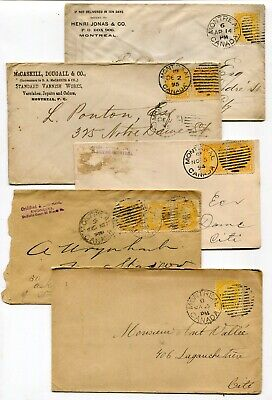 Canada QC Quebec - Montreal 1894 / 1895 - 1c Small Queen Franking Covers x 5