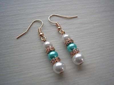 Long Drop Pearl Earrings for women with Silver Gold or Rose Gold Diamante 2DR