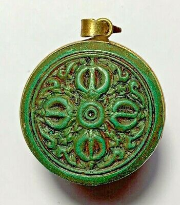 NEPAL TIBETAN BUDDHIST FAIENSE COLORED PENDANT AMULET 14.6gr 41.0mm