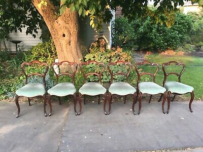 Set of 6 Beautiful Antique Victorian Rosewood Dining Chairs!