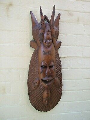 Tribal Art Large 5 Faces Carved Wood Devil Wall Mask Pacific Islands Vnt. Rare
