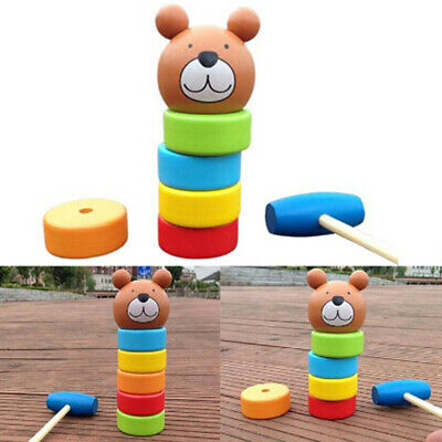 Wooden Toy Bear Clash Tower Children Pile Rainbow Towers Early Education RU