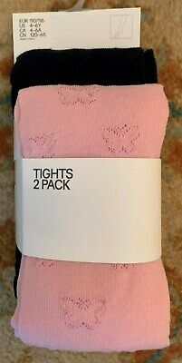 H&M Girl's Pink & Black Tights Age 4-6 Years