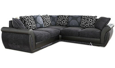 New Large Pioneer Corner Sofa Grey Black Leather & Charcoal Chenille Fabric