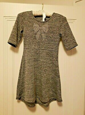 Faded Glory Girls Dress Grey/Black With Bow With Silver Sequins Size 7/8