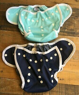 Thirsties / Lot of 2 Diaper Covers / Size TWO MEDIUM / Teal and Navy / 9-36 mon