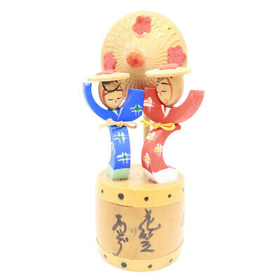 Kokeshi Doll Drum Blue Red Wooden Decor Flower Carved Home decoration Figurine