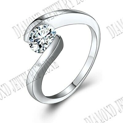 Tension Setting Round Cut 7mm 1.25CT Flawless Cubic Zirconia 14K White Gold Ring