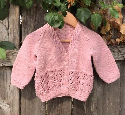 Cardigan Hand knitted 6-18 Months (Vintage Pink)  Cotton/Wool