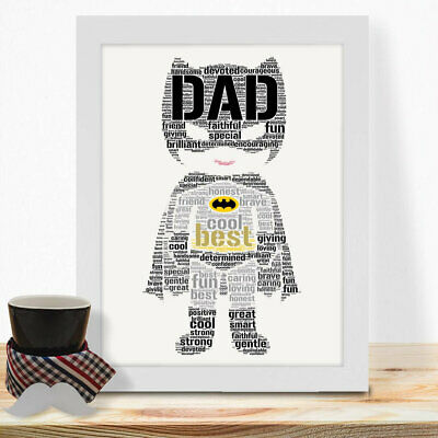 Personalised Birthday Fathers Day Gifts For Dad Daddy Character Wall Prints #71
