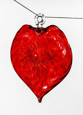 Large Red Christmas tree Glass Heart Egyptian Glass H: 12 CM NEW Modern