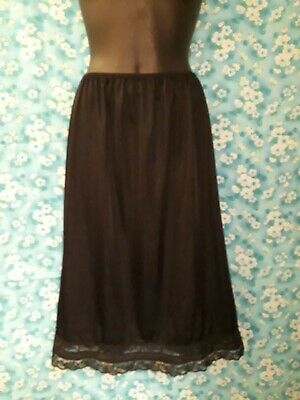 Black Nylon Half Slip Petticoat with Lace Trim Size 16