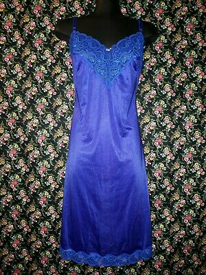 Blue Full Slip Petticoat with Lace Trim Size 16 Formfit Rich Girl