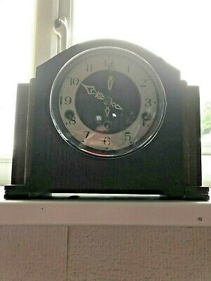 Vintage 1940s Smiths Enfield Westminster chime mantle clock with key THREE HOLES