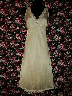 Beige Full Slip Petticoat with Lace Trim Size 18 Formfit