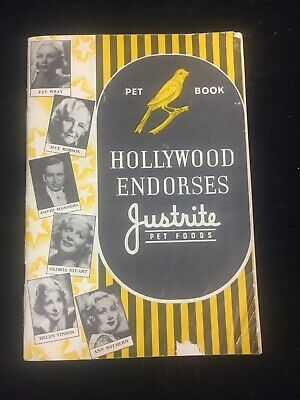 1935 Hollywood Endorses Justrite Pet Foods, Pet Book, Ann Southern, Fay Wray,,
