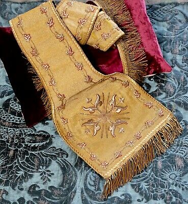 Antique Gold Metallic Embroidered Vestment Applique 19th Century French