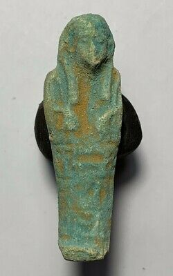 EGYPTIAN GLAZED FAIENCE USHABTI SHABTI WITH HIEROGLYPHICS  7gr 51mm