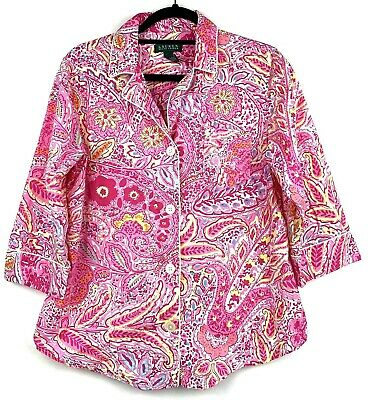 Lauren Ralph Lauren Womens Large Pajama Top Pink Paisley Button Up Pocket Shirt