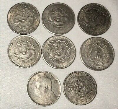 8 Chinese Asian Novelty Token Coins Fat Man Dragons  --Not Silver--