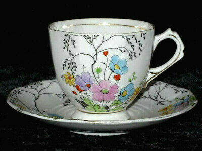 Tuscan China Tea Cup & Saucer Set Colorful Flowers Yellow Blue Pink Bone China